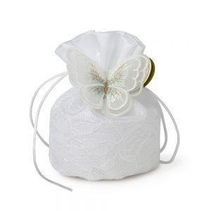 sacchetto bianco con farfalla