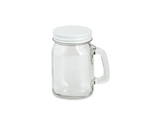 Boccale vetro c/coperchio bianco ø 8 x 13,5 cm