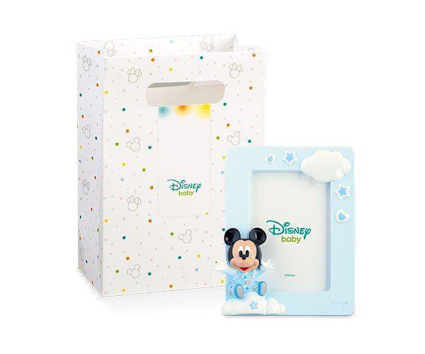 Portafoto Mickey col. azzurro in resina 9,1 x12,1 cm c/scatola 69504D